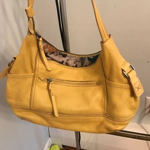 The SAK YELLOW  leather satchel shoulder handbag